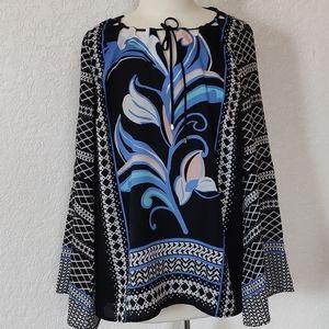 KARRI Blueb womans  top, size 0X long sleeve